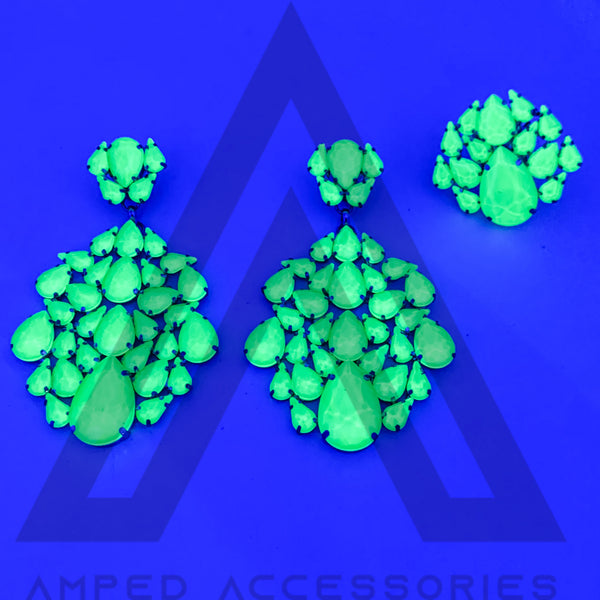 Green Blacklight Earrings & Ring