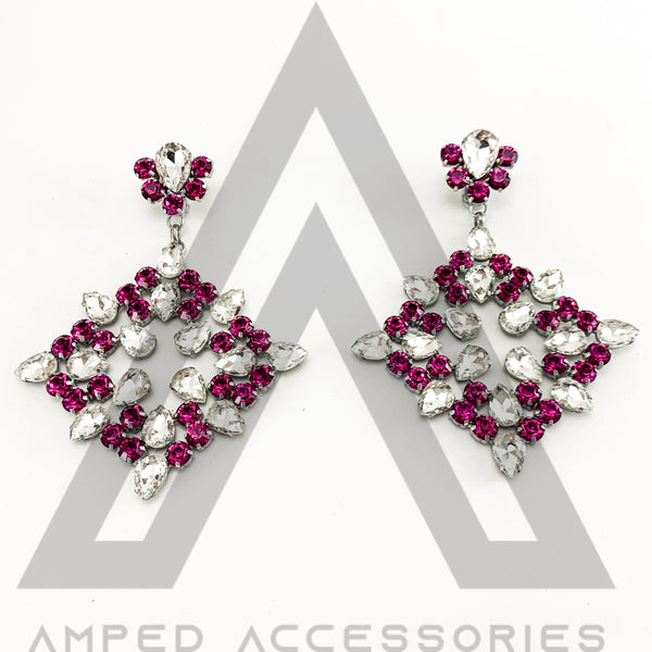 Deep Fuchsia & Clear Earrings