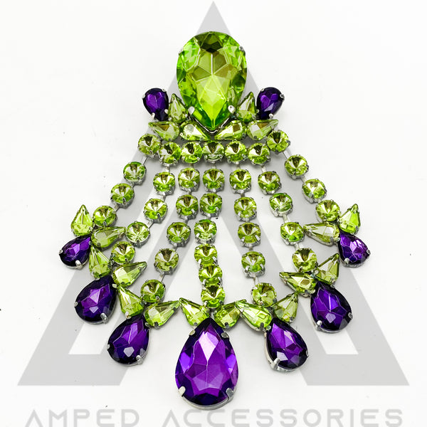 Lime Green & Red Amethyst Purple Broach