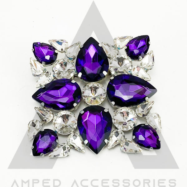 NEW Red Amethyst Purple & Clear Broach