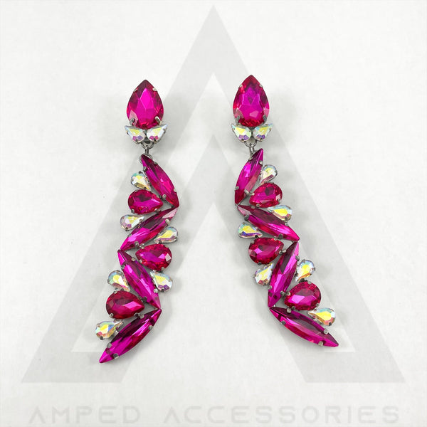 Fuchsia & AB Earrings