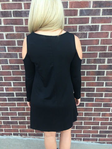 Cold Shoulder Long Sleeve Criss Cross Dress Black