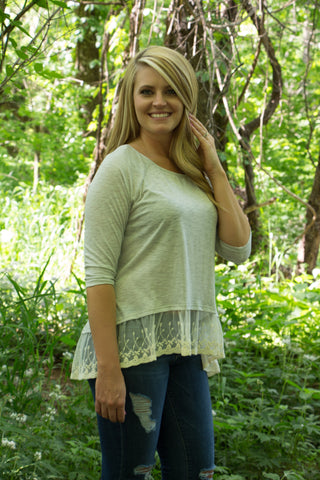 Lace Trim Top - Light Grey