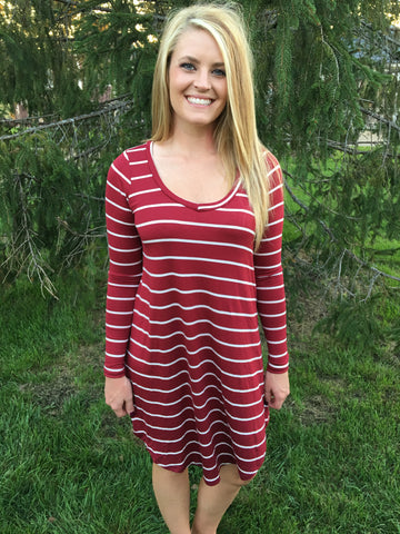 Long sleeve striped tshirt dress in burgundy