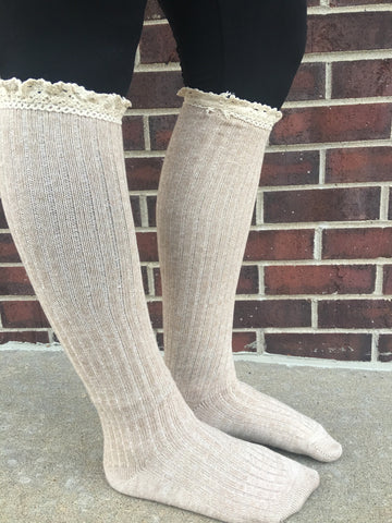 Lace Trim Boot Socks - Tan