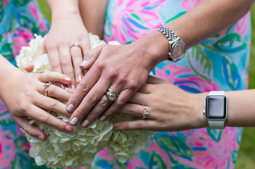 blended family engagement and wedding rings