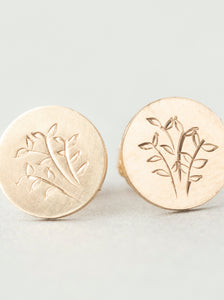Hand Engraved Fern Stud Earrings