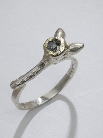 Diamond and Silver Twig Ring (One of a Kind)