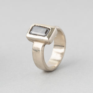 Grey Diamond Geometric Solitaire Engagement Ring (One of a Kind)