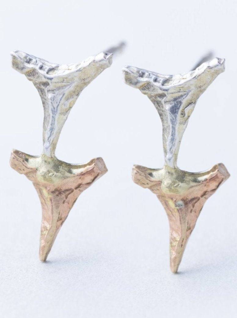 Tiny Gold and Silver Shark Teeth