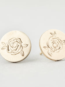 Hand Engraved Rose Stud Earrings