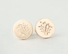 Load image into Gallery viewer, Hand Engraved Fern Stud Earrings