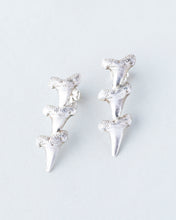 Load image into Gallery viewer, Gold and Silver Shark Teeth Earrings 2x3