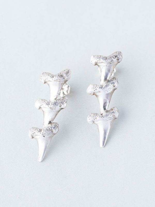 Gold and Silver Shark Teeth Earrings 2x3