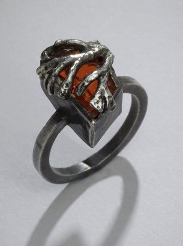 Coral Fire Opal Ring (One of a Kind)