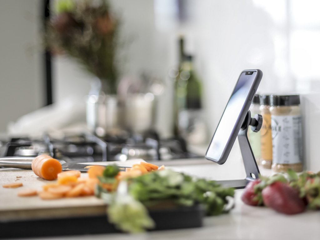 The Quad Lock Desk Mount is great for following recipes in the kitchen.