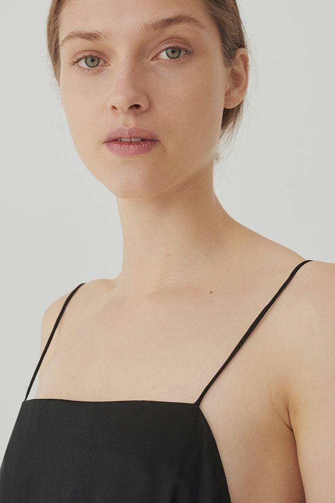 Black Silk Square Neck Top