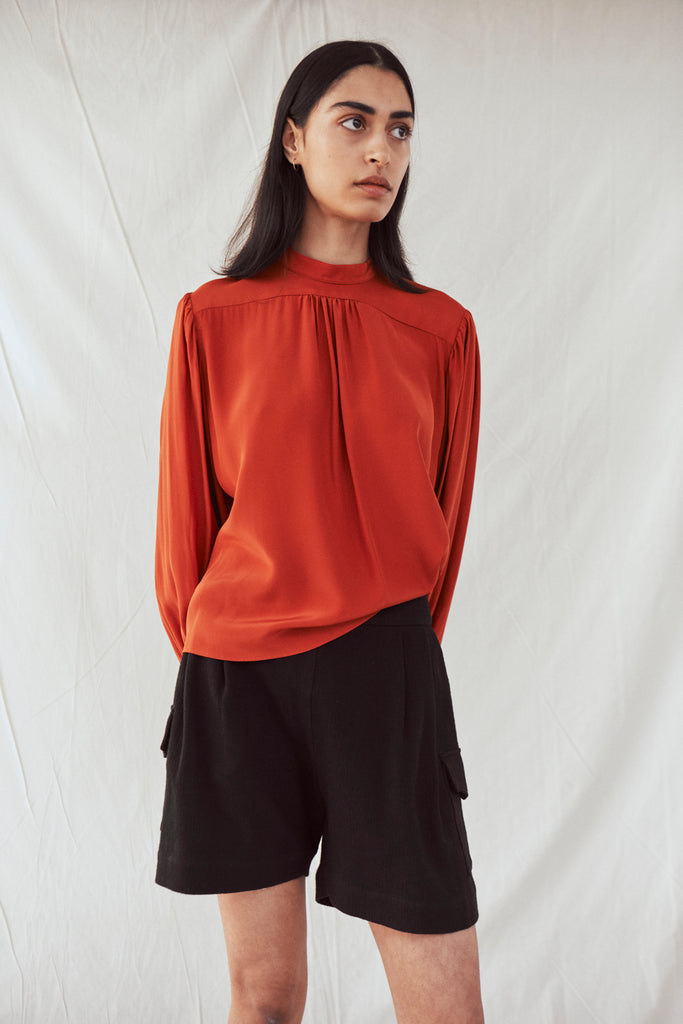 long sleeved gathered yoke top