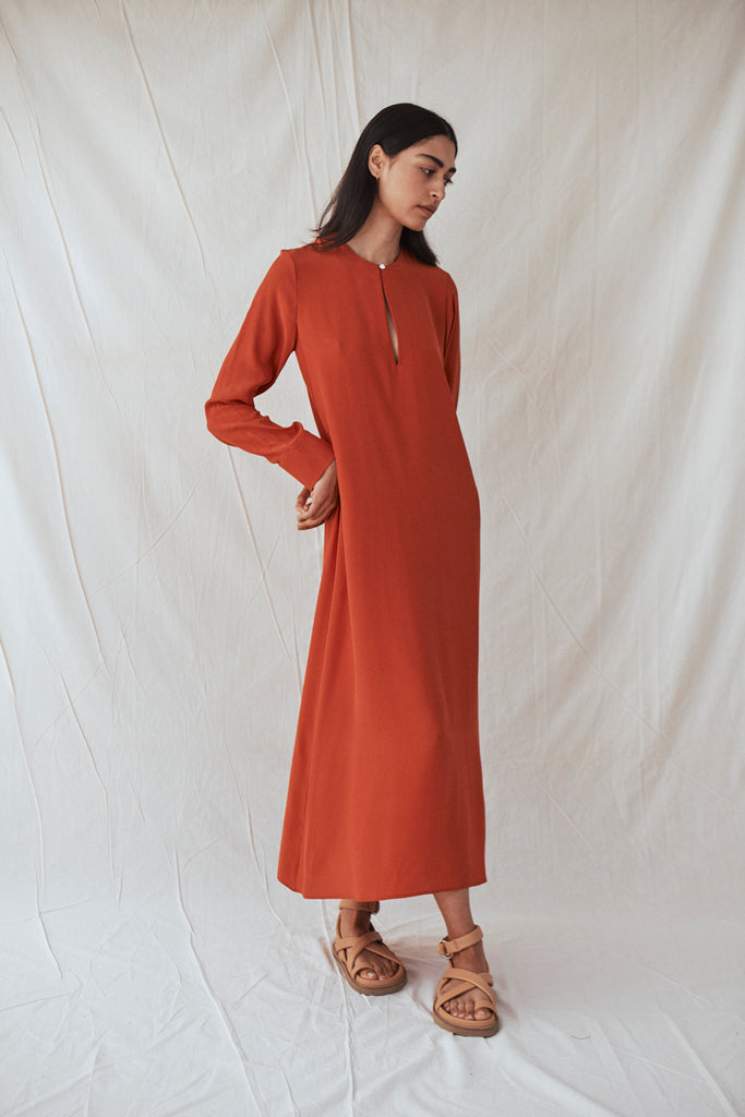 keyhole silk tangerine dress
