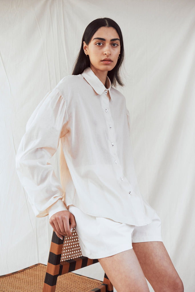 gathered drop-shoulder shirt
