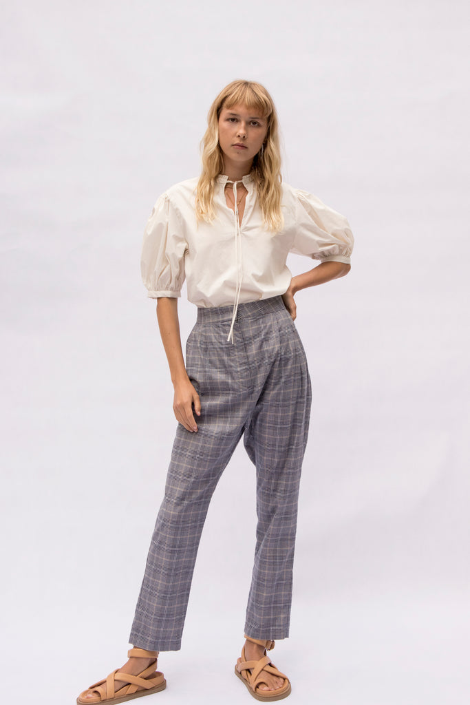 cotton check pleat pant