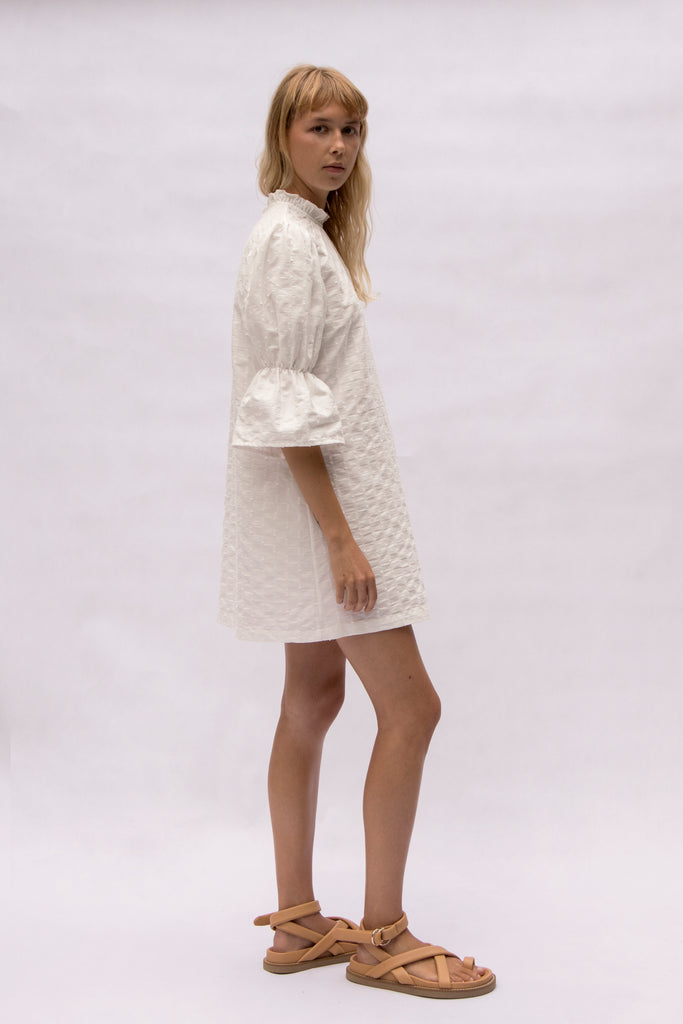 ivory gathered sleeve mini dress