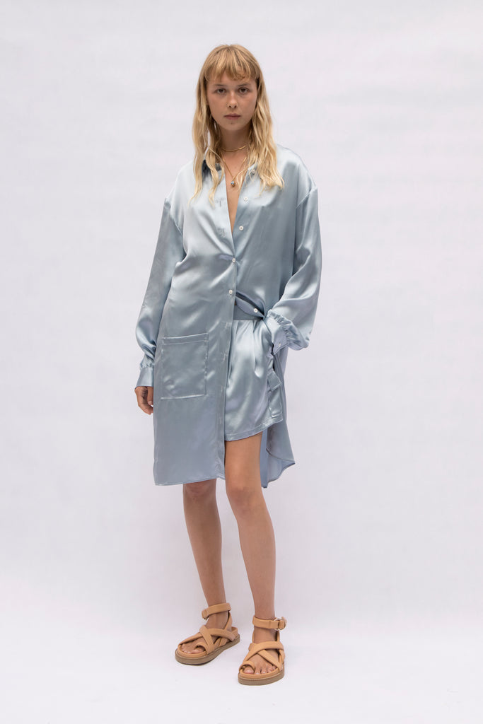 drop shoulder silk shirt dress