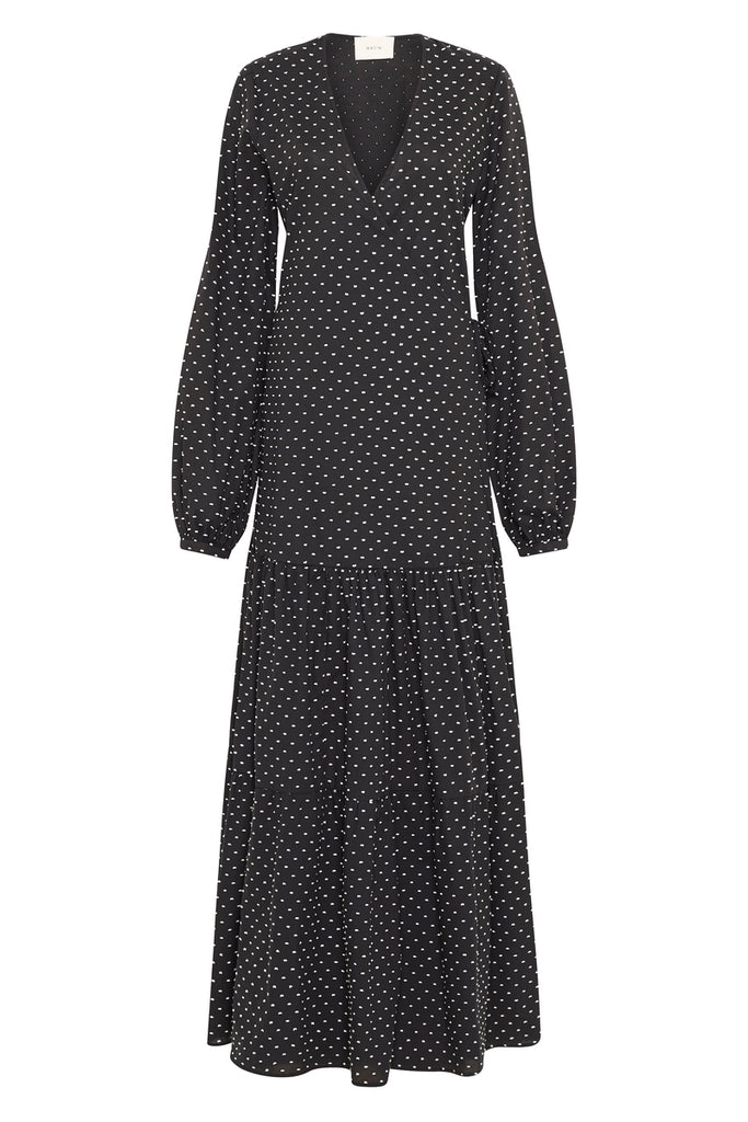 Tiered Wrap Dress, Black