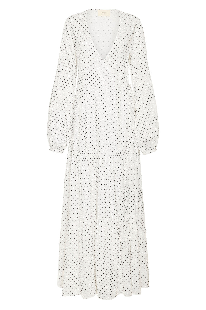 Tiered Wrap Dress, White