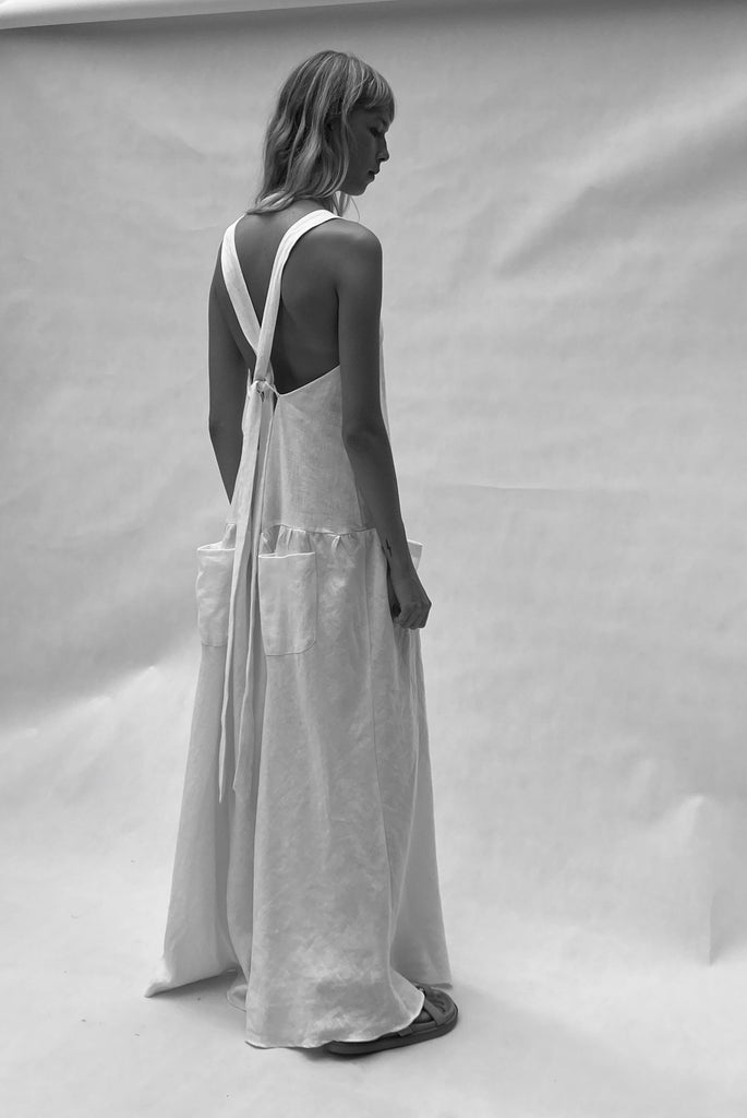 cross back linen dress