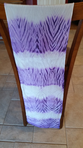 Shibori Style Reiki Infused Scarf - Amethyst and White