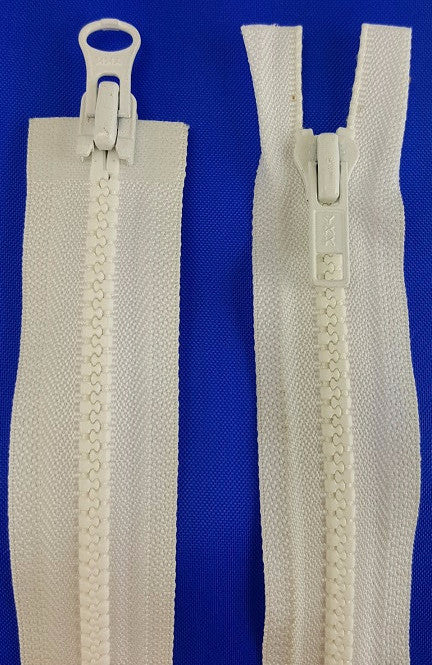 (White) Nylon Two Way Jacket Zipper, 26""