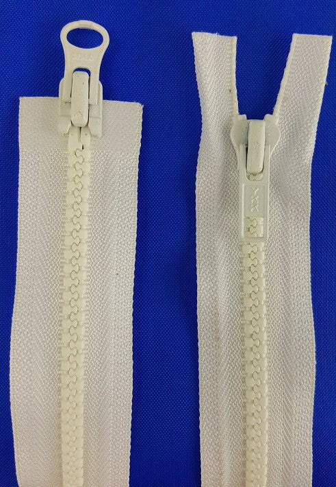 (White) Nylon Two Way Jacket Zipper, 48""