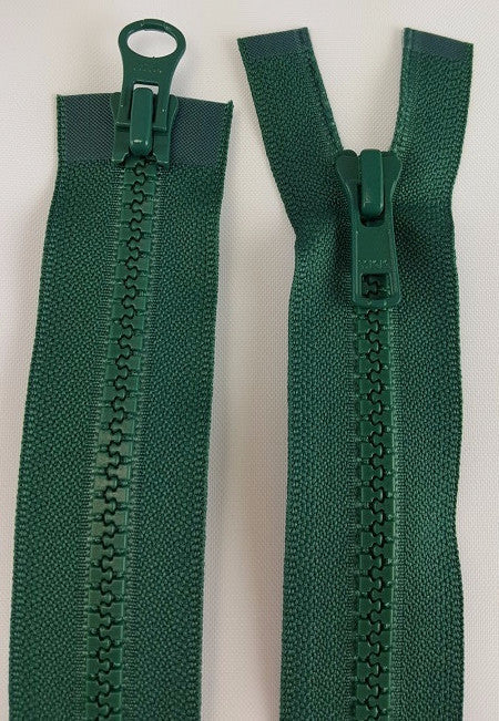 (Dark Green) Nylon Two Way Jacket Zipper, 48""