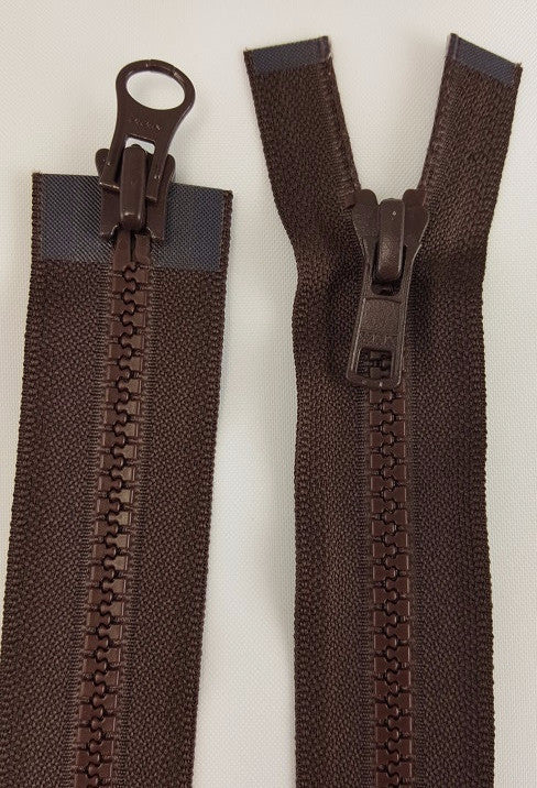 (Brown) Nylon Two Way Jacket Zipper, 48""