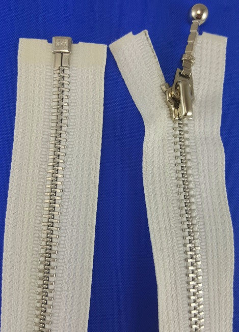 (White) Closed Bottom Decorative Zipper, Silver Teeth, 22''