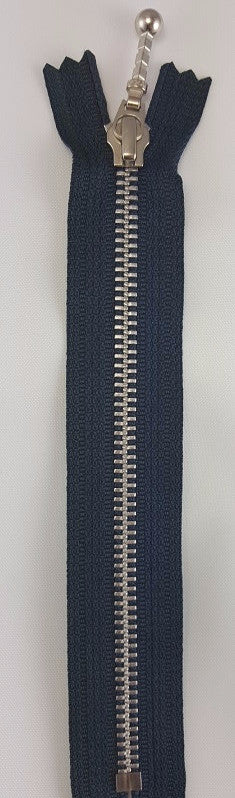 (Navy) Closed Bottom Decorative Zipper, Silver Teeth, 24''