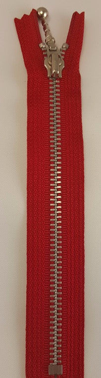 (Red) Closed Bottom Decorative Zipper, Silver Teeth, 26''