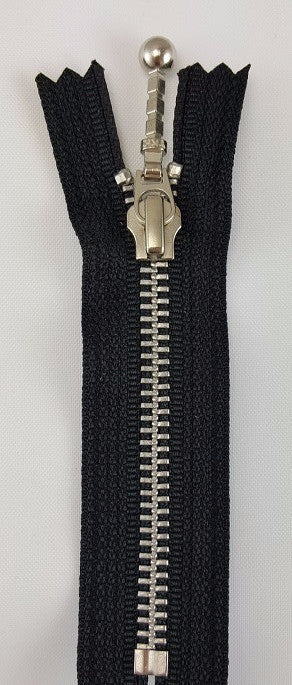 (Black) Closed Bottom Decorative Zipper, Silver Teeth, 4''