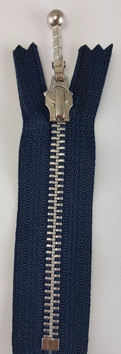 (Navy) Closed Bottom Decorative Zipper, Silver Teeth, 4''