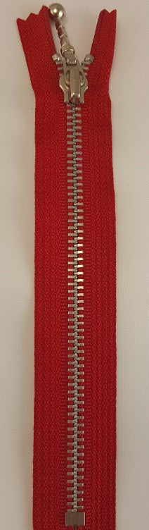 (Red) Closed Bottom Decorative Zipper, Silver Teeth, 4''