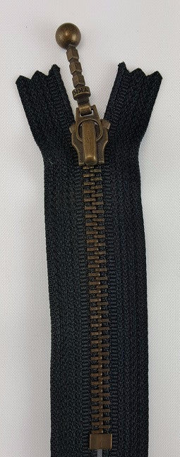 (Black) Closed Bottom Decorative Zipper, Brass Teeth, 4''