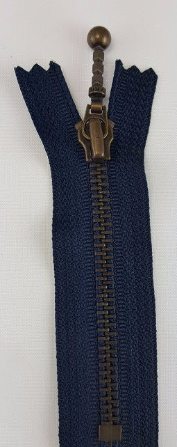 (Navy) Closed Bottom Decorative Zipper, Brass Teeth, 7''