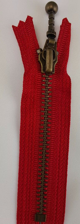 (Red) Closed Bottom Decorative Zipper, Brass Teeth, 4''