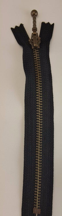 (Black) Closed Bottom Decorative Zipper, Brass Teeth, 22''