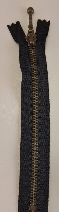(Black) Closed Bottom Decorative Zipper, Brass Teeth, 26''