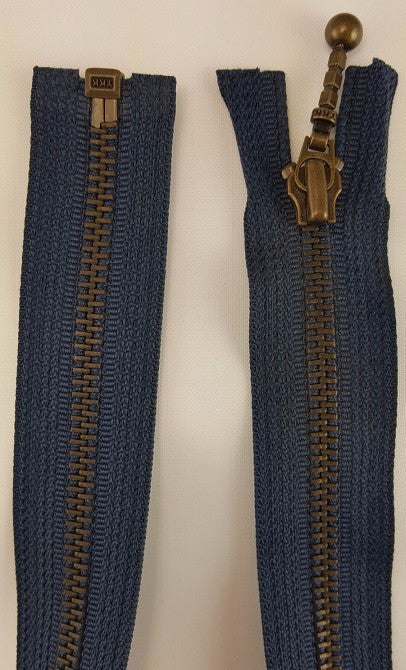 (Navy) Closed Bottom Decorative Zipper, Brass Teeth, 26''