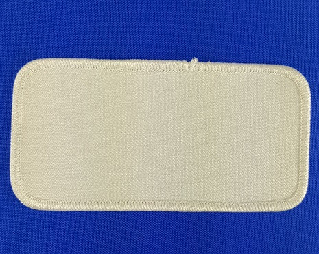 "Rectangle (White on White) Blank Embroidery Patch , 2 "" x 4"""