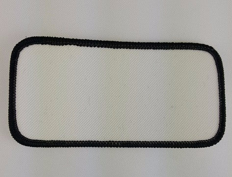 "Rectangle (Black on White) Blank Embroidery Patch , 2 "" x 4"""
