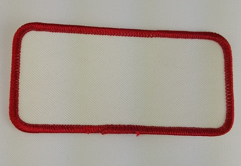 "Rectangle (Red on White) Blank Embroidery Patch , 2 "" x 4"""